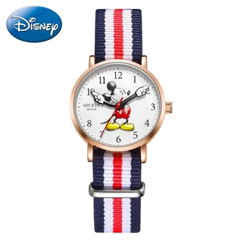 Mickey Mouse Children Quartz Nylon Waterproof Wrist Watch Teen Disney Classic Cartoon Boy Kid Gift Round Watches Student Time relogio feminino children watches fashion casual cartoon girl boy students watch mickey mouse women leather quartz wrist watches