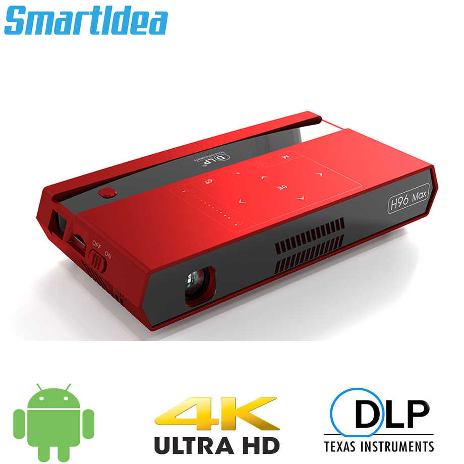 Smartldea H96 max Mini HD 4K Proiettore android 6.0 dual 2.4G 5G wifi smart home cinema proyector video gioco Blutooth4.1 beamer