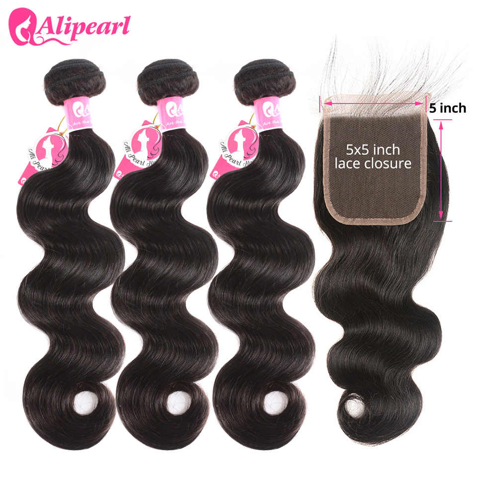 AliPearl Hair Body Wave Bundles With 5x5 Closure Free Part Brazilian Hair Weave 5x5 Closure With 3 Bundles Remy Natural Black