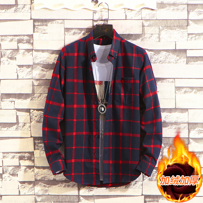 <font><b>Men's</b></font> <font><b>Winter</b></font> Long Sleeve Plaid Flannel <font><b>Fur</b></font> Lined Thick Work <font><b>Shirts</b></font> fleece warm long sleeve <font><b>shirt</b></font> for <font><b>men</b></font> dress <font><b>shirts</b></font> image