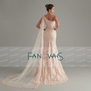 Image 2 - Élégant rose sirène robes de soirée longue abendkleider 2019 vestido longo festa avant fente formelle robe de soirée robe de soirée