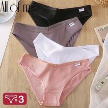 3 unids/set las bragas de las mujeres calzoncillos de algodón calzoncillos femeninos lencería Sexy cintura baja Pantys para mujer 6 Color sólido M-4XL