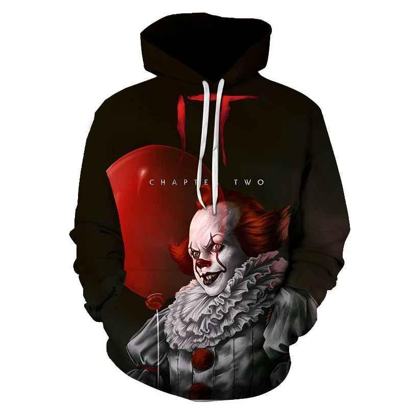 Pennywise Film 3D Felpa Con Cappuccio Unisex di Hip Hop Orrore Autunno Streetwear Felpa Con Cappuccio Halloween Coppie di Vestiti CHE 3D Felpa Con Cappuccio Più Il Formato (s-6XL)