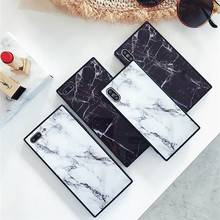Fashion Simple Square Marble Pattern Phone Case For iPhone X XS MAX XR 7 8 6 6S Plus Matte Soft TPU Silicone Cover Fundas