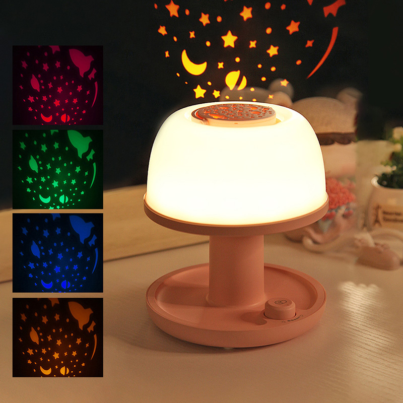 2019 New Creative Atmosphere Night Projection Lamp USB Charging Table Light Cherry Powder / Mint Green 1200mah/2000mah New