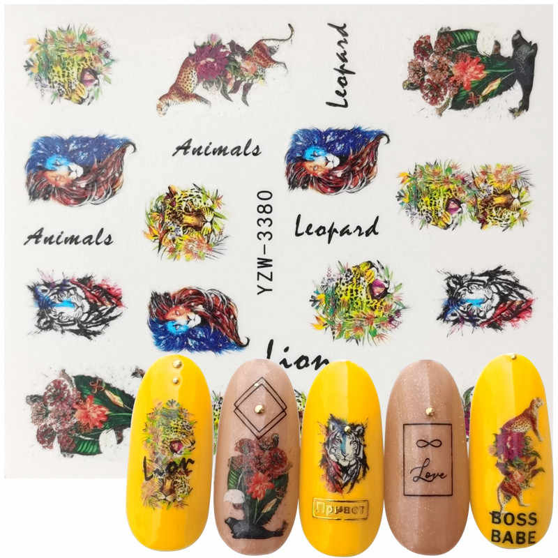 2020 Nieuwe Ontwerpen Nail Stickers Wolf Vos Uil Ijsbeer Animal Water Transfer Decals Tattoo Decor Folies Wraps Manicure Accessorie