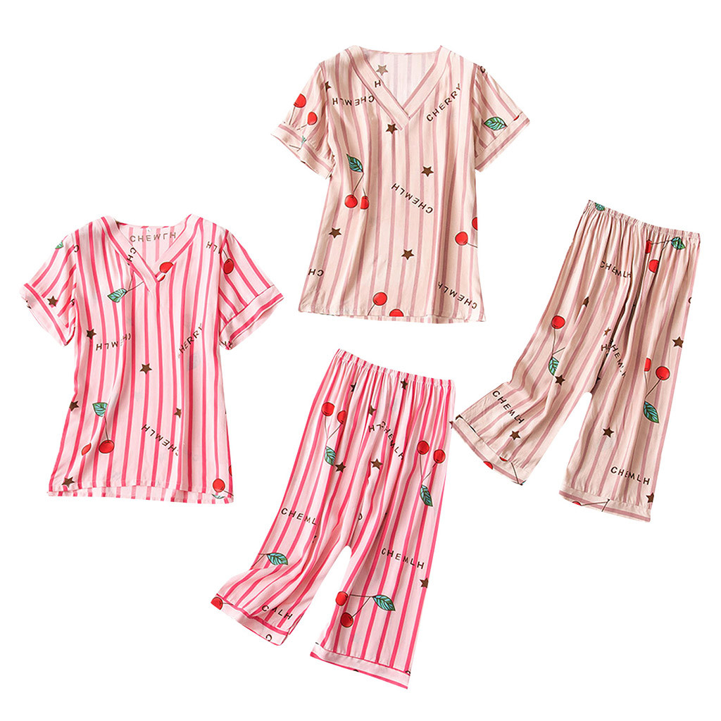 Women's Sleepwear Sexy Summer fashion causal Printing Pattern Pajamas Sleepwear Nightwear 2PC Set Y724