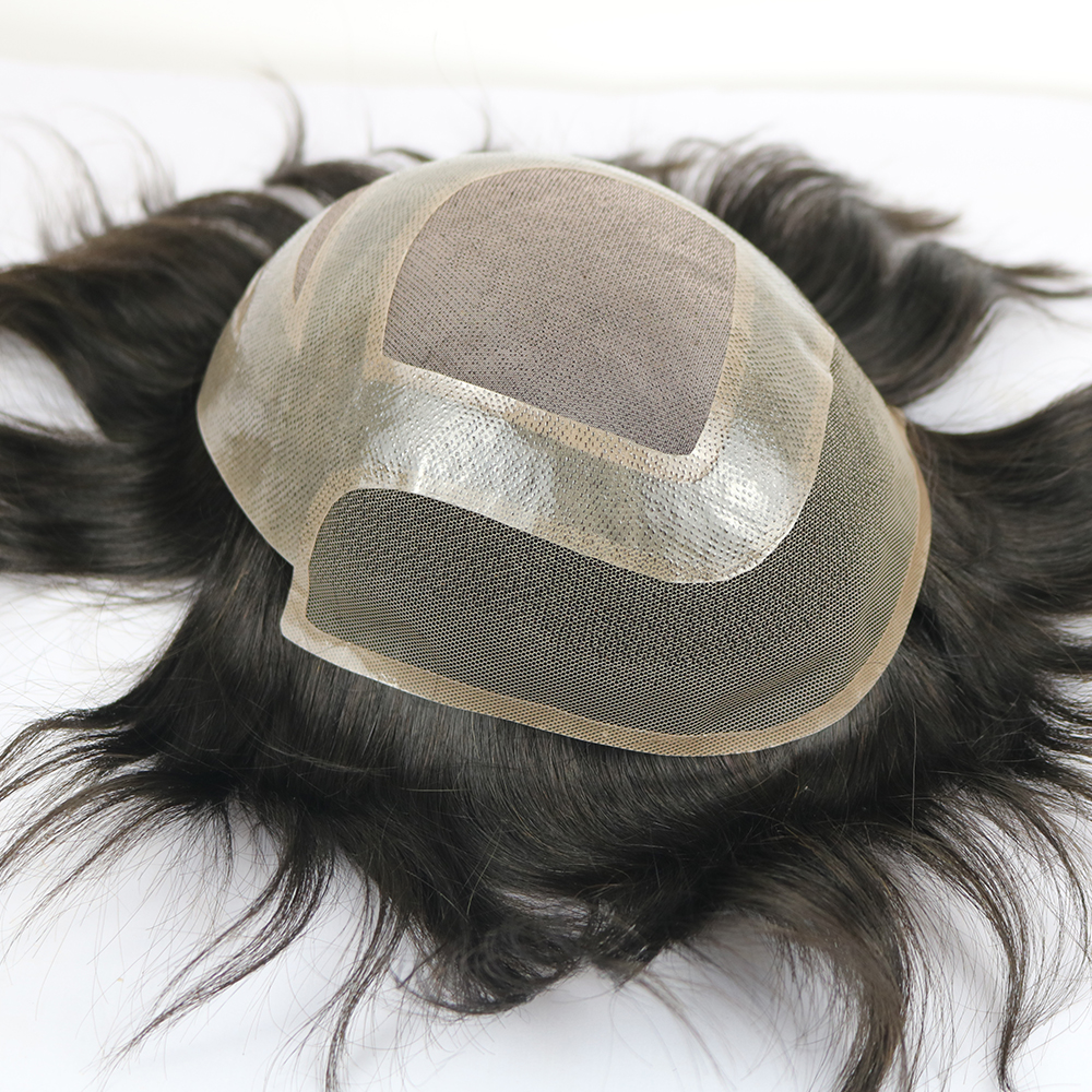 Mens Toupee Human Hair Hairpiece French Lace Pu Around In Stock Dark Brown Mens Toupee Hairpiece Hair System