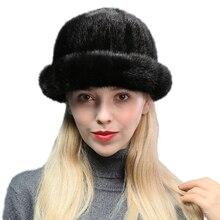 Элегантная женская натуральная полностью из норки меховые шапки женские зимние теплые норковая шапка для дам 8 цветов