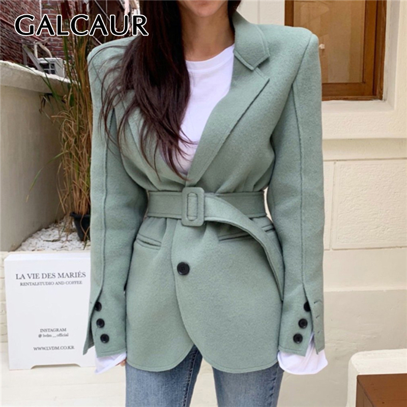 GALCAUR Korean Patchwork Blazer For Women Notched Long Sleeve High Waist Sashes Tunic Coats Female 2019 Fashion New Clothes