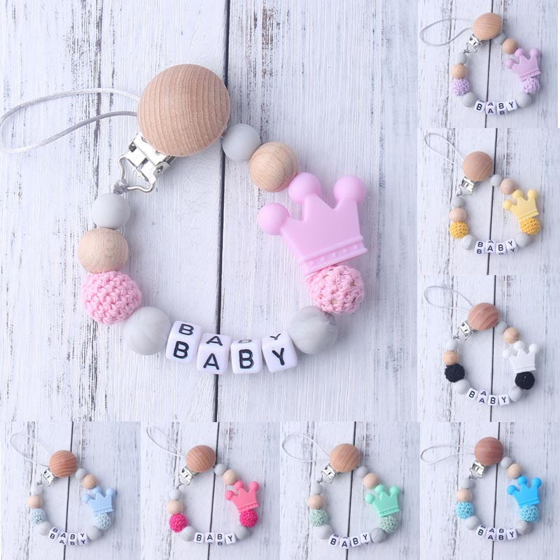 1 Pcs Cute Baby Pacifer-clip Holdr Cartoon Crown Pattern Baby Teether Holdr Chain Pacifier Holder Chain Gift For Baby Supplies