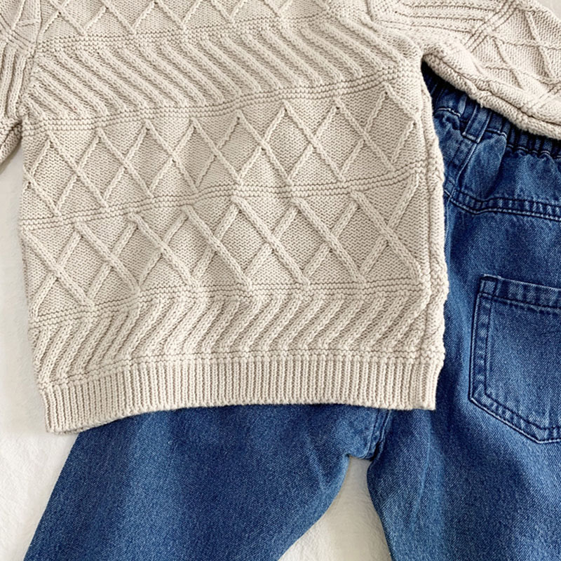 New Baby Kids Boys Long Sleeve Knit Pure Color Sweater Autumn Winter Baby Kids Boys Pullover Sweaters Children's Clothes 6