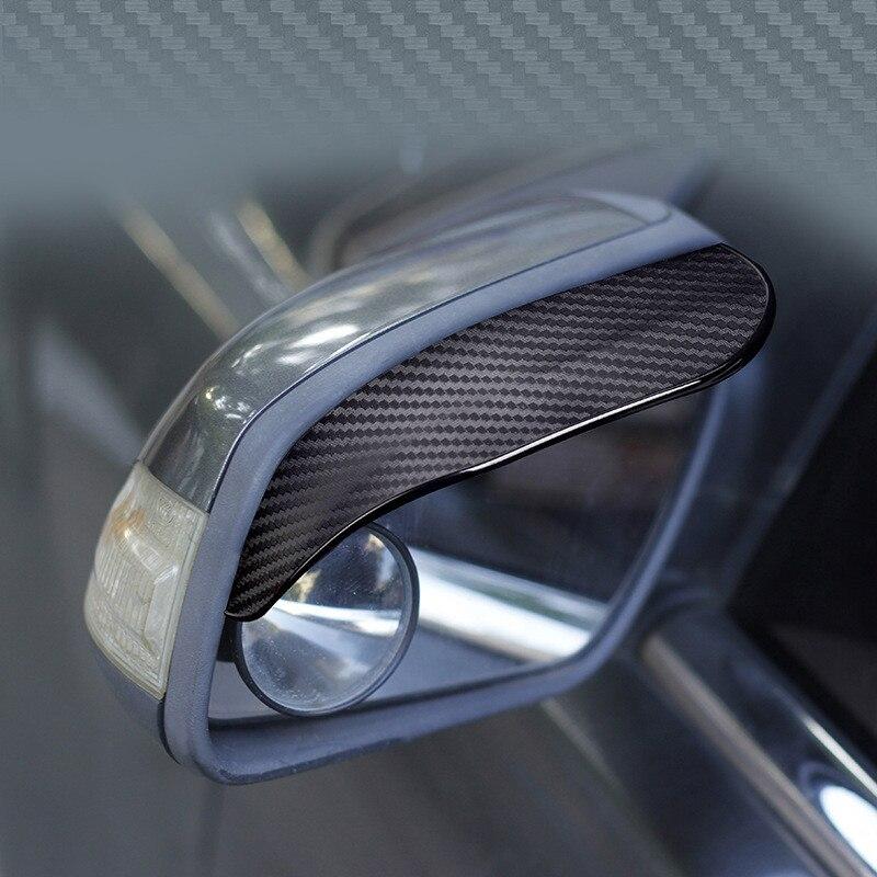 2pcs Car Side Rear View Mirror Rain Eyebrow Visor Carbon Fiber Look Sun Shade Snow Guard Weather Shield Cover Auto Accessories