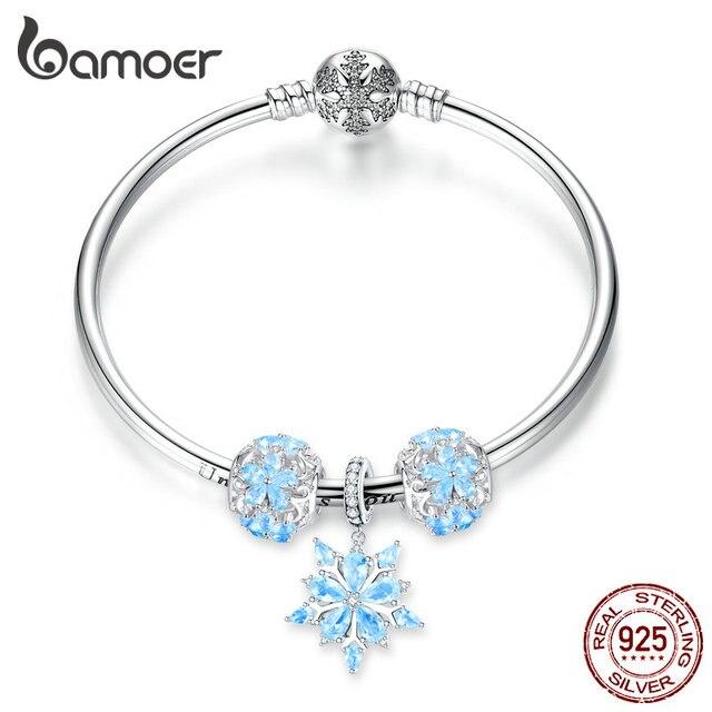 Bamoer oryginalna 925 Sterling Silver zima Snowflake księżniczka bransoletka dla kobiet Charm bransoletka luksusowe europejskiej Bijoux SCB833