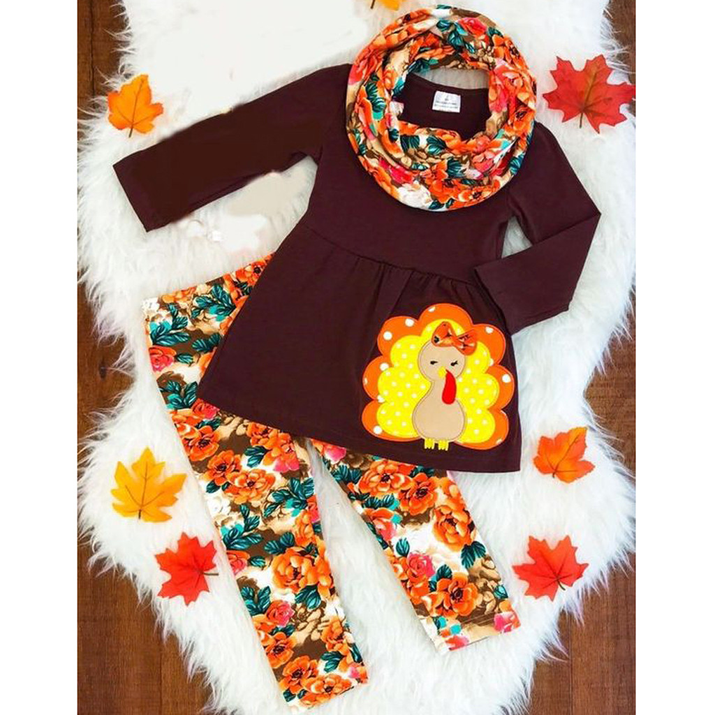 Toddler Kids Baby Girl Turkey T shirt Floral Pants Thanksgiving Outfits Set