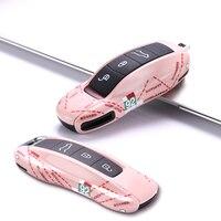 Housse de clé de voiture pour Porsche Macan Cayenne Panamera 911 9YA 971 porte clé coque rigide NO.92 voiture de course mignon rose girly style Étui pour clé de voiture    -