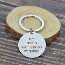 Simple Design Best Friends Metal Keychain Engraved Words Are the sisters We Choose Soul Sister Bosom Friend Keyrings for Gifts