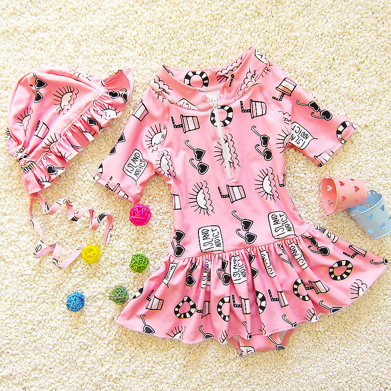 Students South Korea Cute Sun-resistant Beach Small Dress Triangle Baby Girls Infants KID'S Swimwear Children Short Sleeve