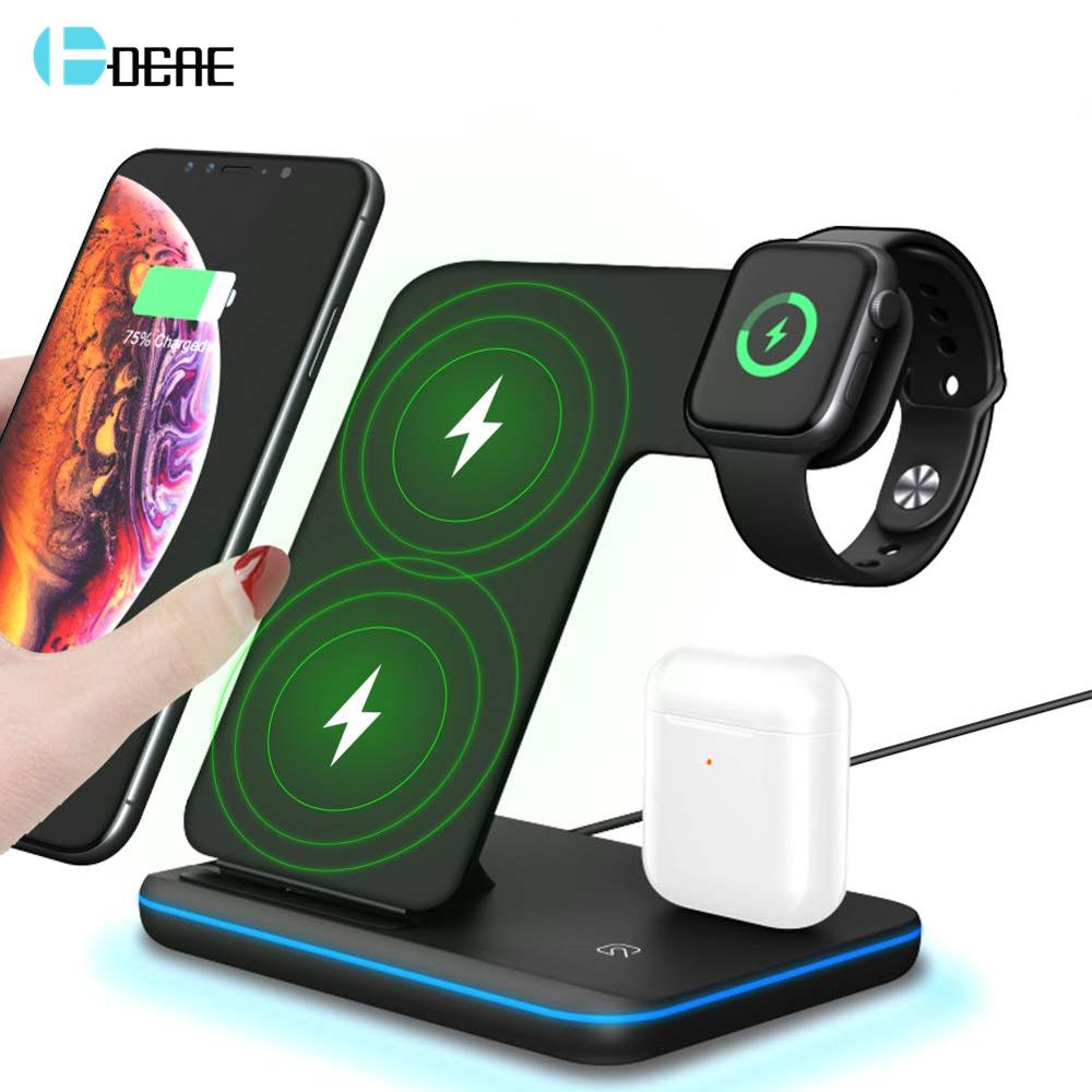 DCAE 3 in 1 QI Wireless Charger for iPhone 11 XS XR 8 Samsung S10 S20 15W Fast Charging Dock For Airpods Apple Watch 5 4 3 Stand