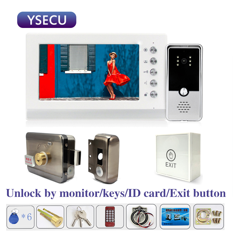 YSECU 7 Inch 1000TVL HD Video Intercom With Lock For Apartment Home Electric Lock Door Access Control 3A Power Exit Button
