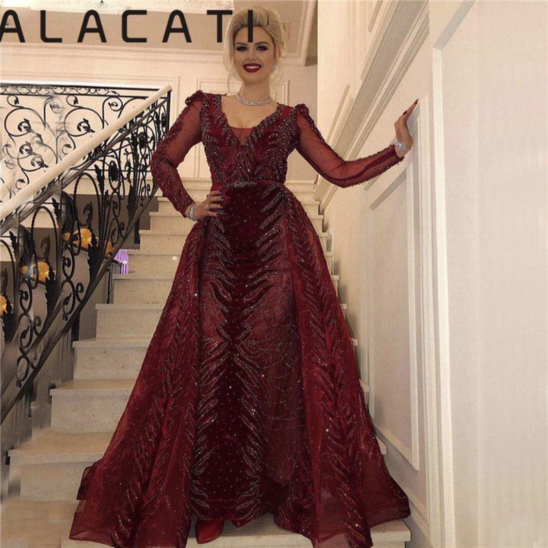 Wine Red Designer High-end Luxury Velvet Fashion Sexy Tail Fishtail Evening Dress Exports Middle East Dubai Real Photos