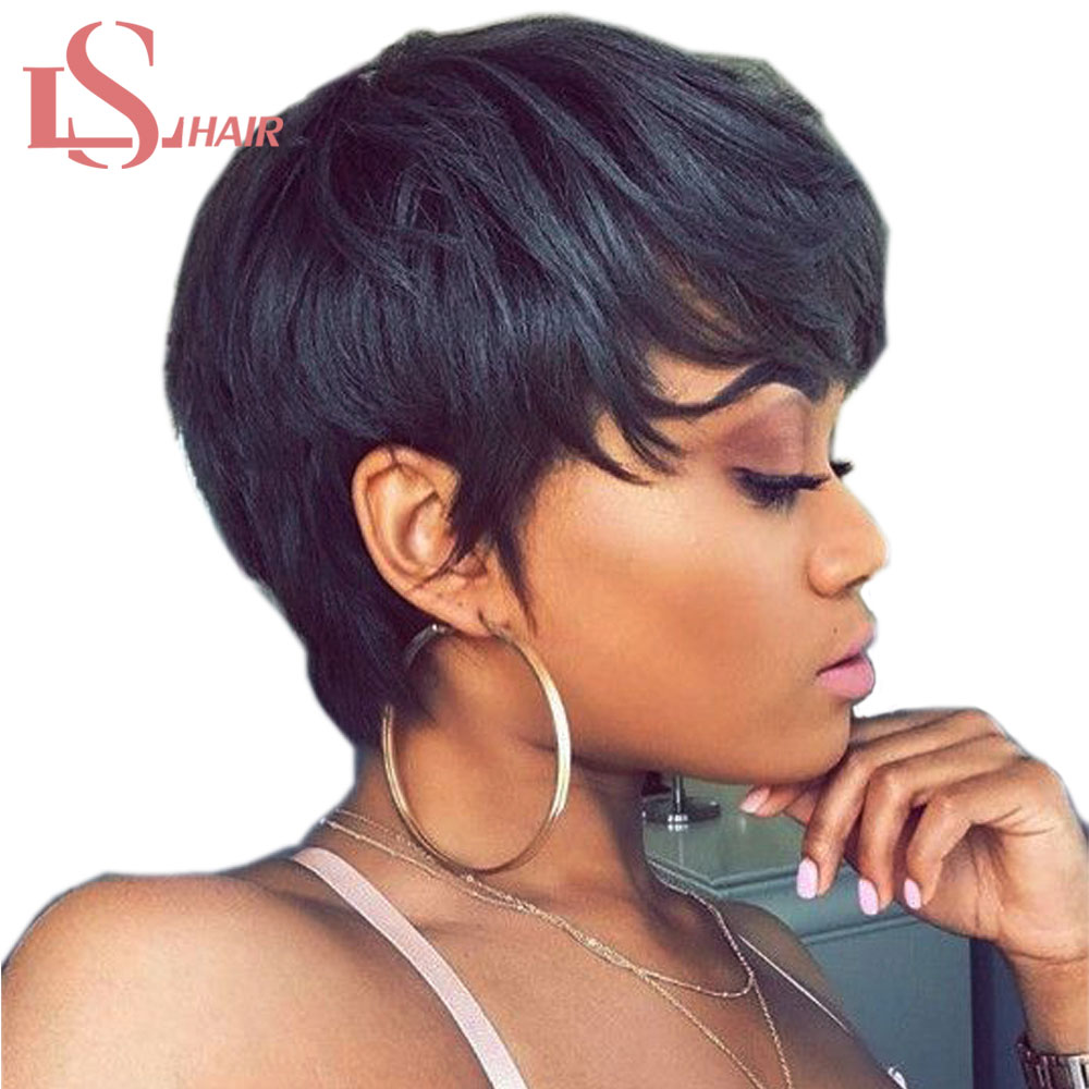 LS HAIR Malaysian Straight Short Human Non-remy Hair Wigs With Baby Hair Bob Wig Human Hair Wigs For Black Women Free Shipping