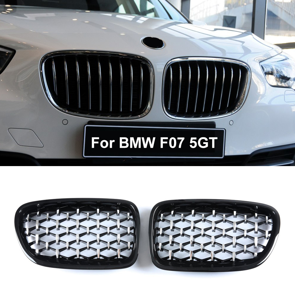 A Pair <font><b>F07</b></font> Diamond Grille For <font><b>BMW</b></font> 5 Series <font><b>GT</b></font> <font><b>F07</b></font> 528i 535i 550i 2009-2017 Front <font><b>Bumper</b></font> Kidney Grilles Car Styling image