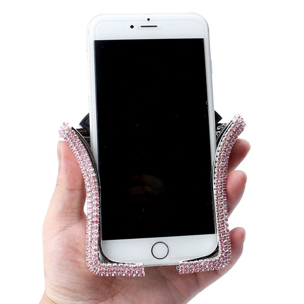 Supporto universale per telefono a forma di U supporto per telefono cellulare con strass in cristallo lucido supporto per presa daria supporto per telefono cellulare accessori per Auto