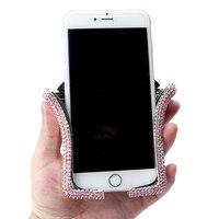 Soporte Universal para teléfono móvil en forma de U para coche, accesorios para automóvil con Clip de cristal brillante para ventilación de aire
