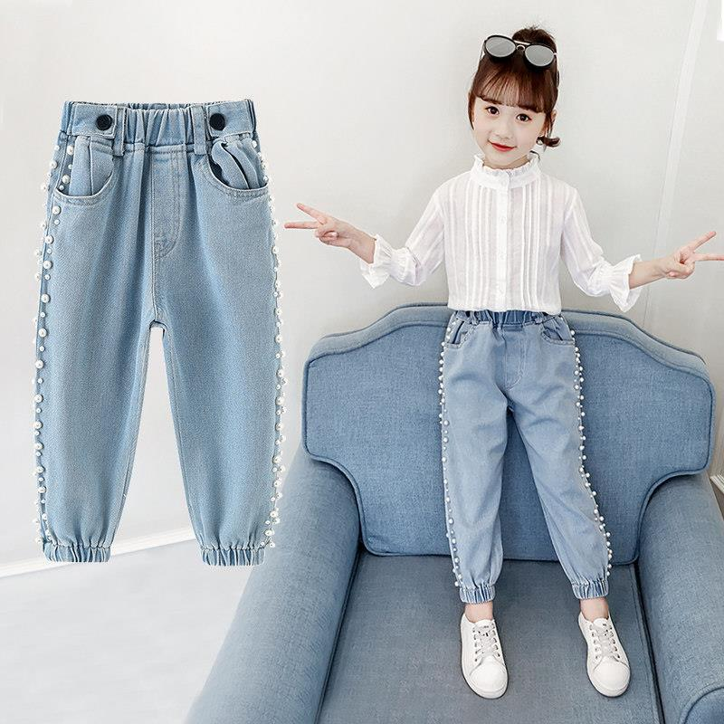 2020 spring autumn Kids Jeans For Girls Lovely Children demin Pants Casual Trouses teen Girls Jeans For 4 <font><b>6</b></font> 8 <font><b>10</b></font> <font><b>12</b></font> 14Y image