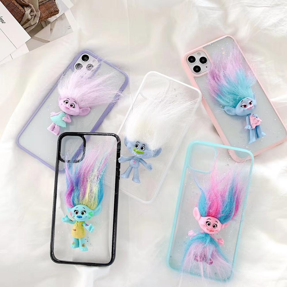 3D Dimensional Troll doll Elves Transparent star Phone Case For iPhone 11 12Pro Max XR XS Max 7 8 Plus X SE 2020 Soft Back Cover