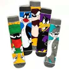 Chaussettes tendance européenne et américaine pour hommes et femmes, chaussettes de lapin de dessin animé de personnalité, chaussettes de sport à tube central en canard Daffy pour hommes
