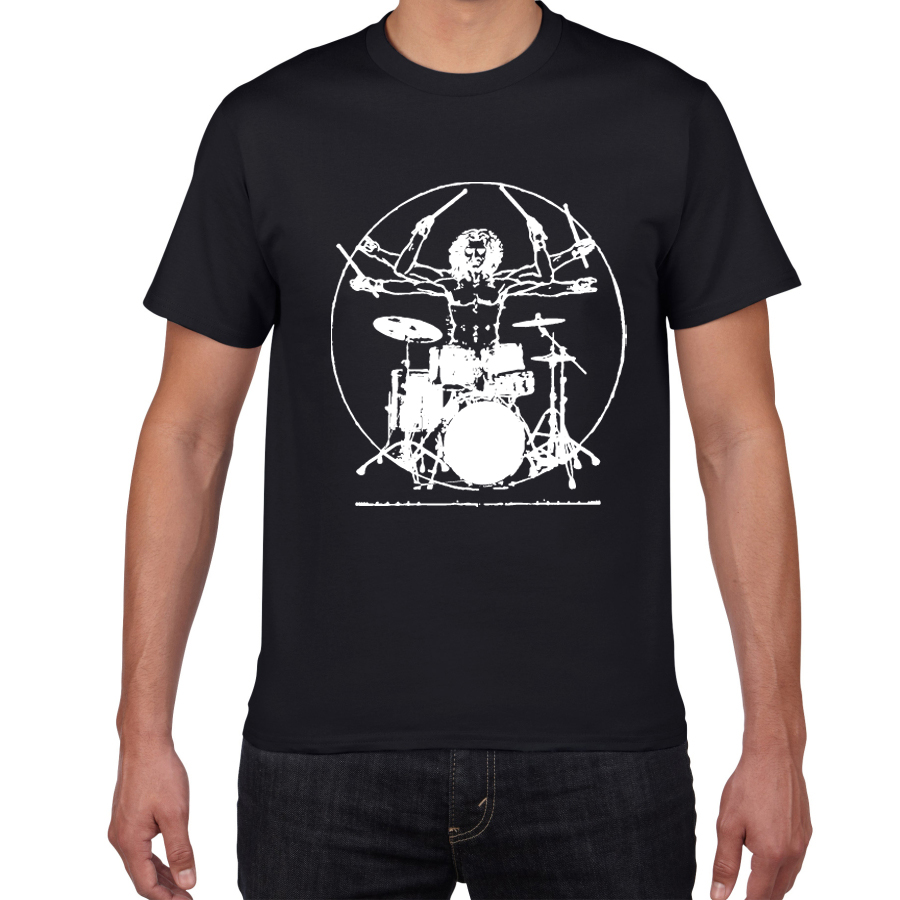 Drums Da Vinci Funny T Shirt Men Vitruvian Man Drummer Cotton  Vintage Graphic Music Novelty  Streetwear Men Tshirt Men  Homme