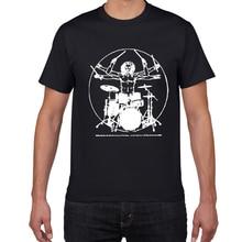 Camiseta divertida de hombre de tambores Da Vinci, Vitruvian, baterista de algodón, música gráfica Vintage, ropa de calle novedosa, camiseta para hombre