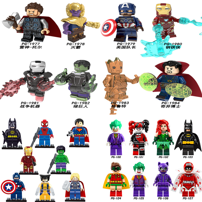 Single Heroes Avengers 4 Endgame Ironman Thor Groot War Machine Thanos Marvel Building Blocks Toys Compatible Legoedly Technic