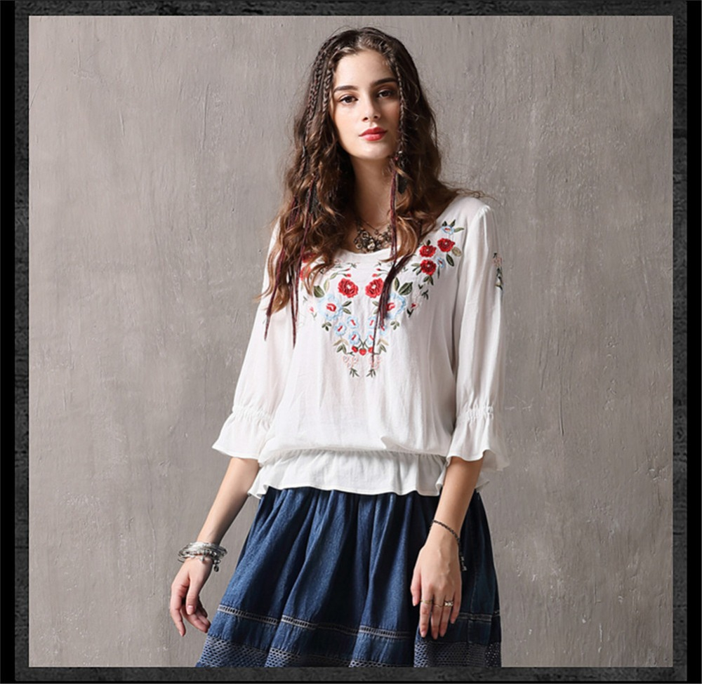 Spring 100% Cotton Women Loose Blouses Shirts 2020 Vintage Blusas O-Neck Flare Sleeve Floral Embroidery White Women`s Shirt 9260 (10)