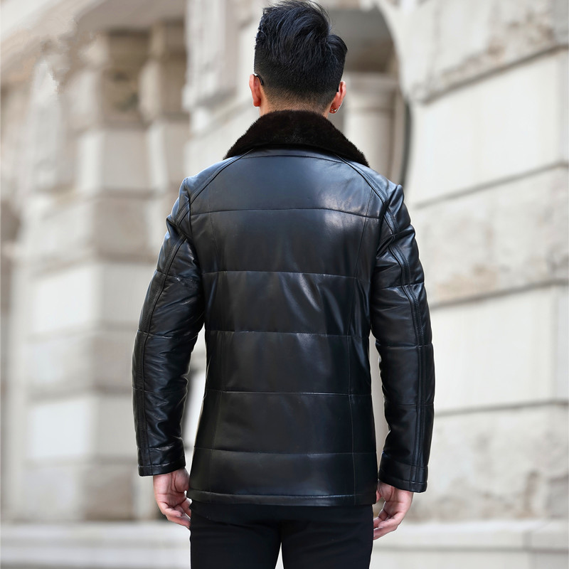 Genuine Leather Jacket Men Mink Fur Collar Down Jackets 2020 Winter Jacket Men Sheepskin Coat L18-2203 MY1452