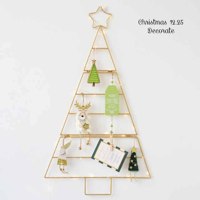 Nordic ins mini Gold white Christmas tree set home wall hanging diy stars Xmas decorations New year Kids Room decor supplies