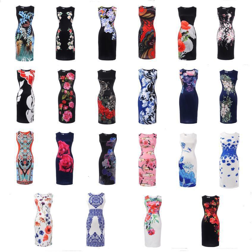 BacklakeGirls Multi Patterns Round Neck Sleeveless Printing Flower Cocktail Dress Short For Women Night Cocktail Party Vestidos
