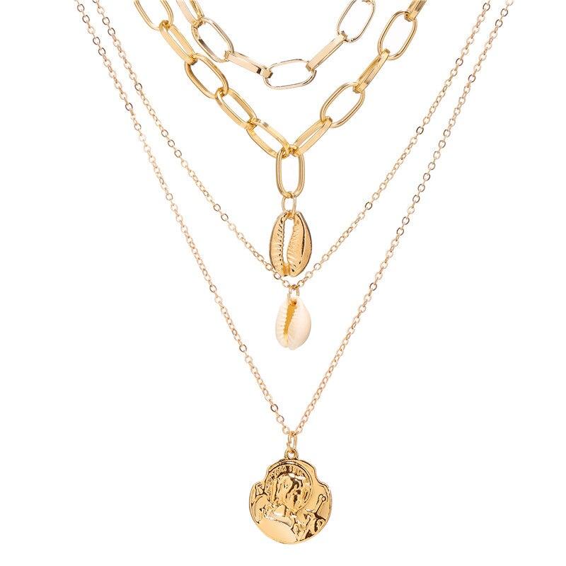 17 км винтажная Золотая монета с портретом, жемчужное ожерелье с подвеской s для женщин, богемное Модное Длинное Ожерелье из муклтилятора с жемчугом, ювелирное изделие - Окраска металла: CS19070905