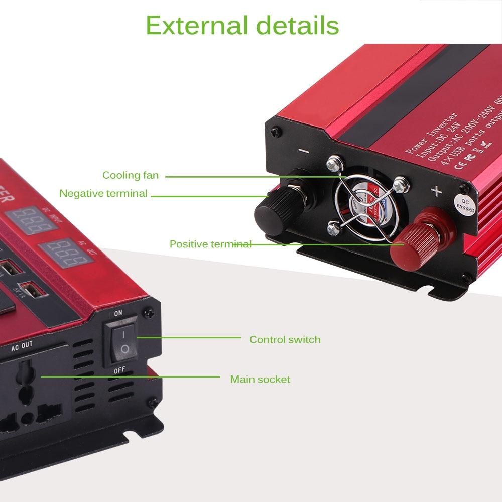 Image 2 - Onever 5000W Solar Car Power Inverter DC12/24V To AC110/220V  Converter Digital Display 4 USB InterfacesCar Inverters   -