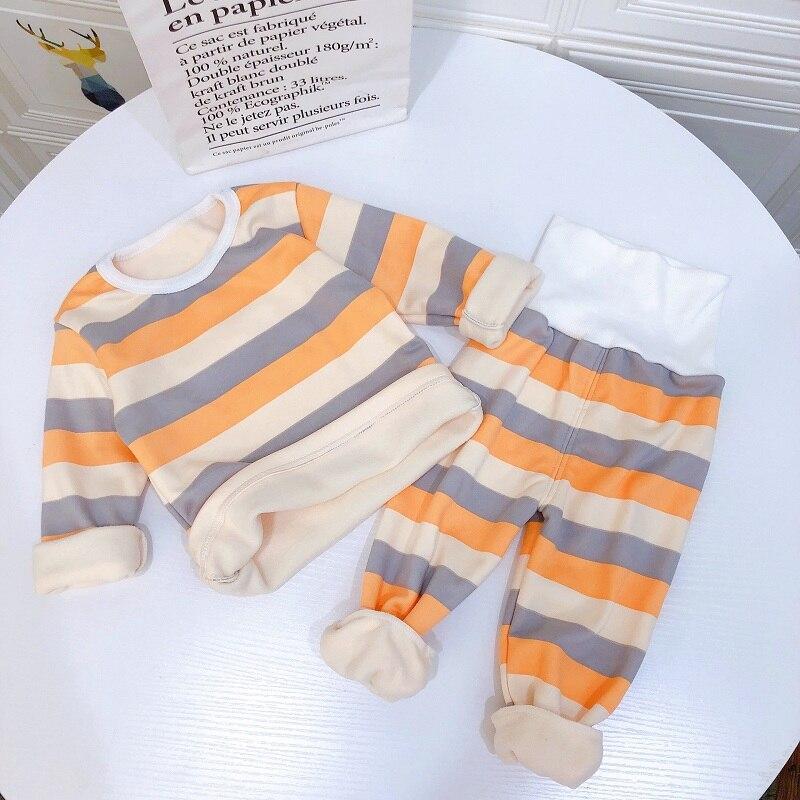 stripe pajamas set long sleeve tshirt+pant kids boy girl pijamas clothes high waist sleepwear Toddler pyjamas children winter 5