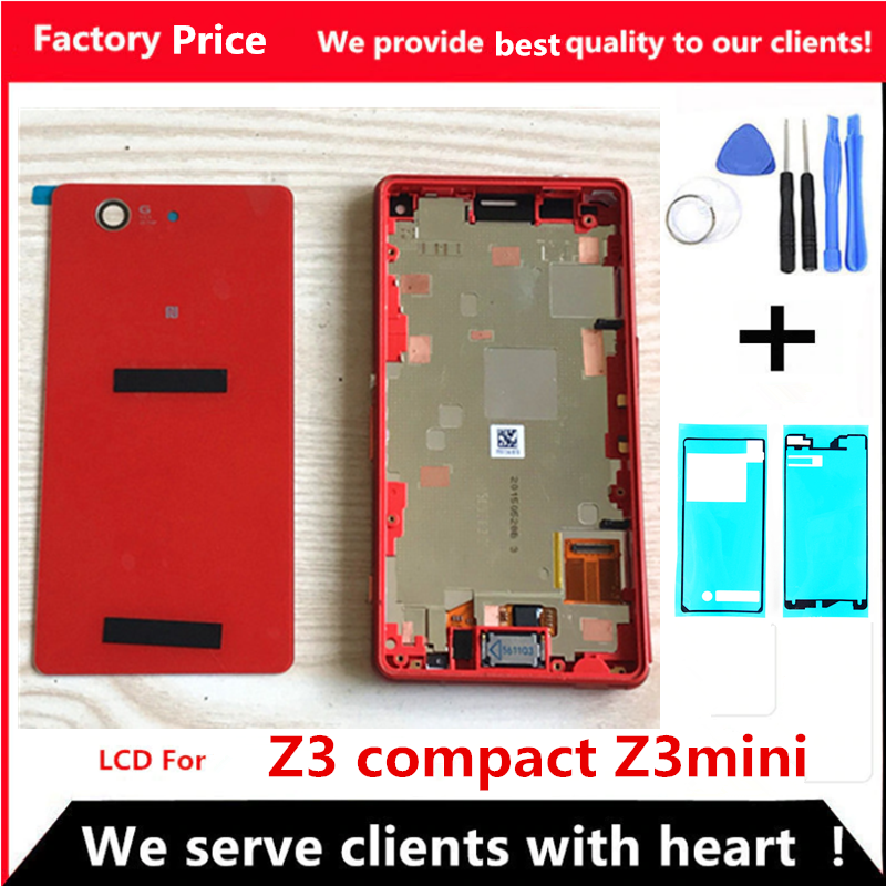 LCD For SONY Xperia Z3 Compact Display Touch Screen With Frame Plug Back Cover Z3Mini D5803 D5833 For SONY Xperia Z3 Compact LCD