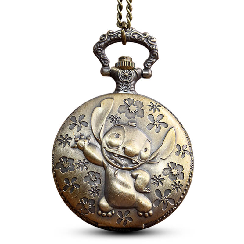 Vintage Bronze Anime Lilo & Stitch Quartz Pocket Watch Cute Koala Dog Fob Watch With Chain Pendant Boy Children Watch Men