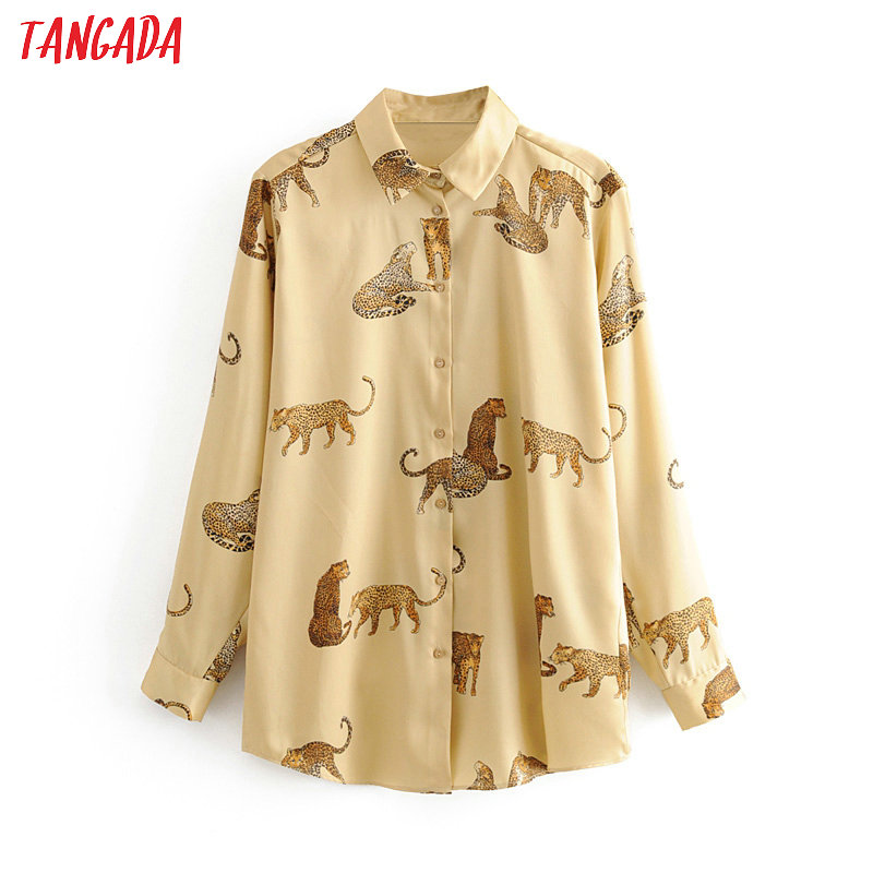 Tangada Women Retro Oversized Animal Print Blouse Long Sleeve Chic Female Casual Loose Shirt Blusas Femininas 3H307