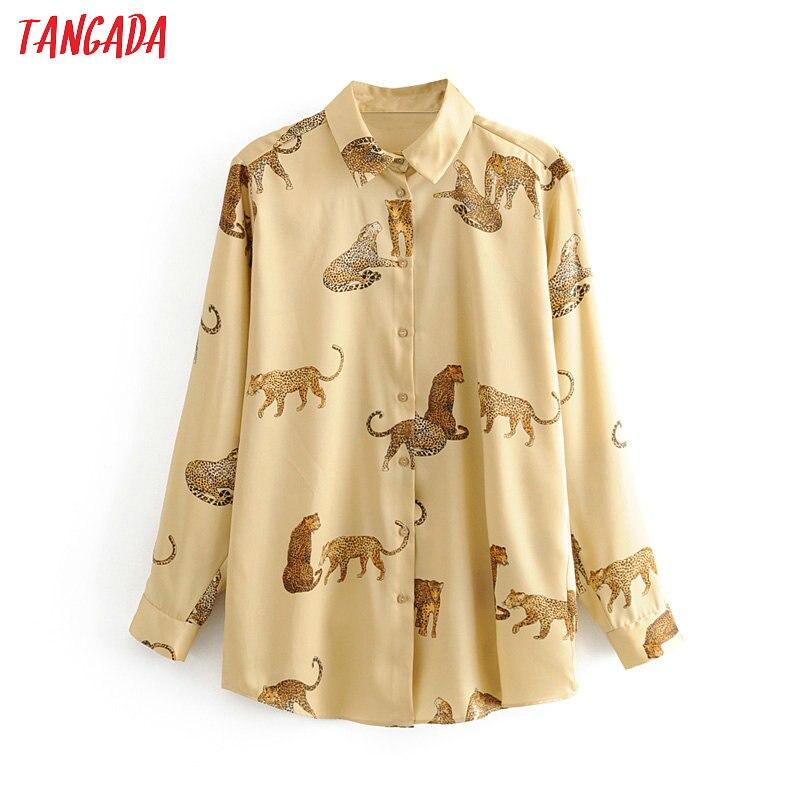 Tangada Women Retro Oversized Animal Print Blouse Long Sleeve Chic Female Casual Loose Shirt Blusas Femininas 3H307