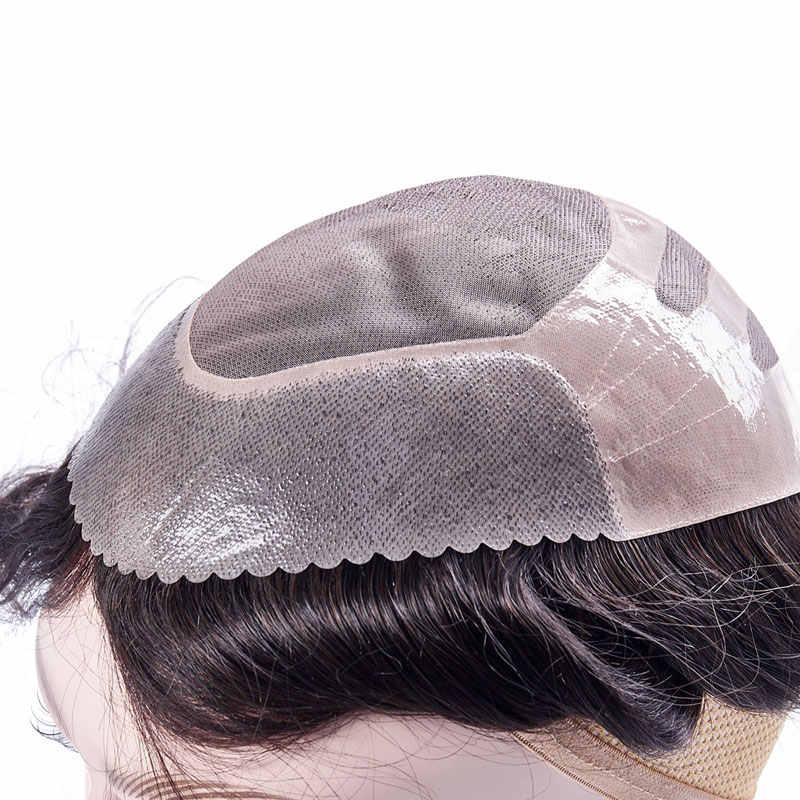 Peruka męska peruka systemy wymiany Hairpiece Mono koronka z cienkim PU 8x10 naturalny Remy indyjski ludzki włos Handmade