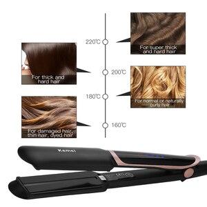 Image 3 - Профессиональный Выпрямитель для волос 2 в 1, инфракрасные щипцы для завивки волос, светодиодный дисплей, широкая пластина, плоский утюжок, инструменты для укладки, 45