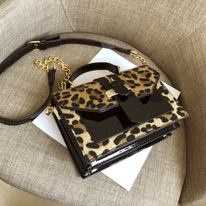 Image 2 - 2019 womens leopard PU leather shoulder bags lady solid black and burgundy crossbody chain handbags girl fashion sling bags