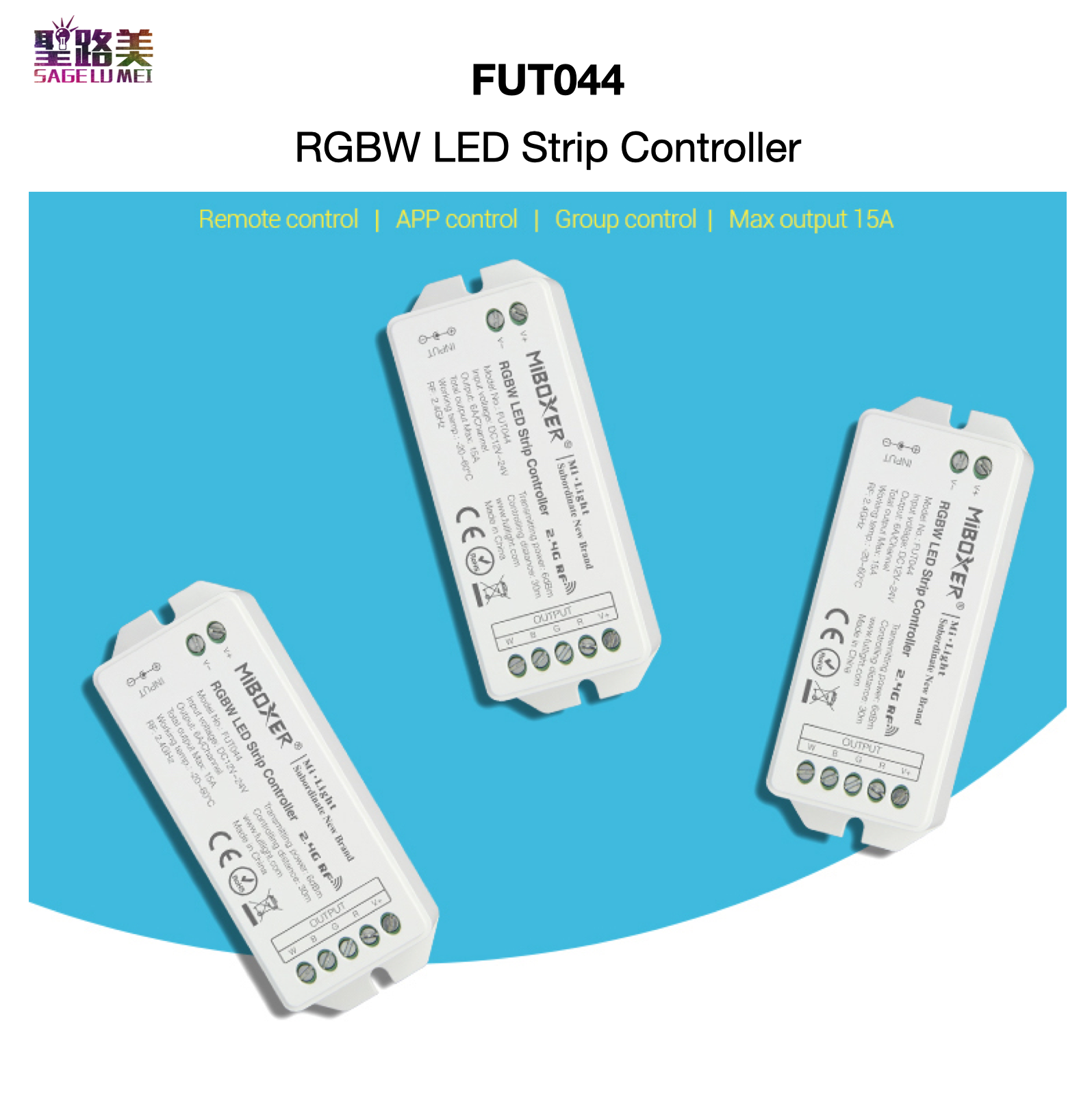 FUT044 RGBW LED Strip Controller APP / 2.4GHz Remote RF / Group Control Auto-synchronization Auto-transmitting MiBOXER Mi-Light